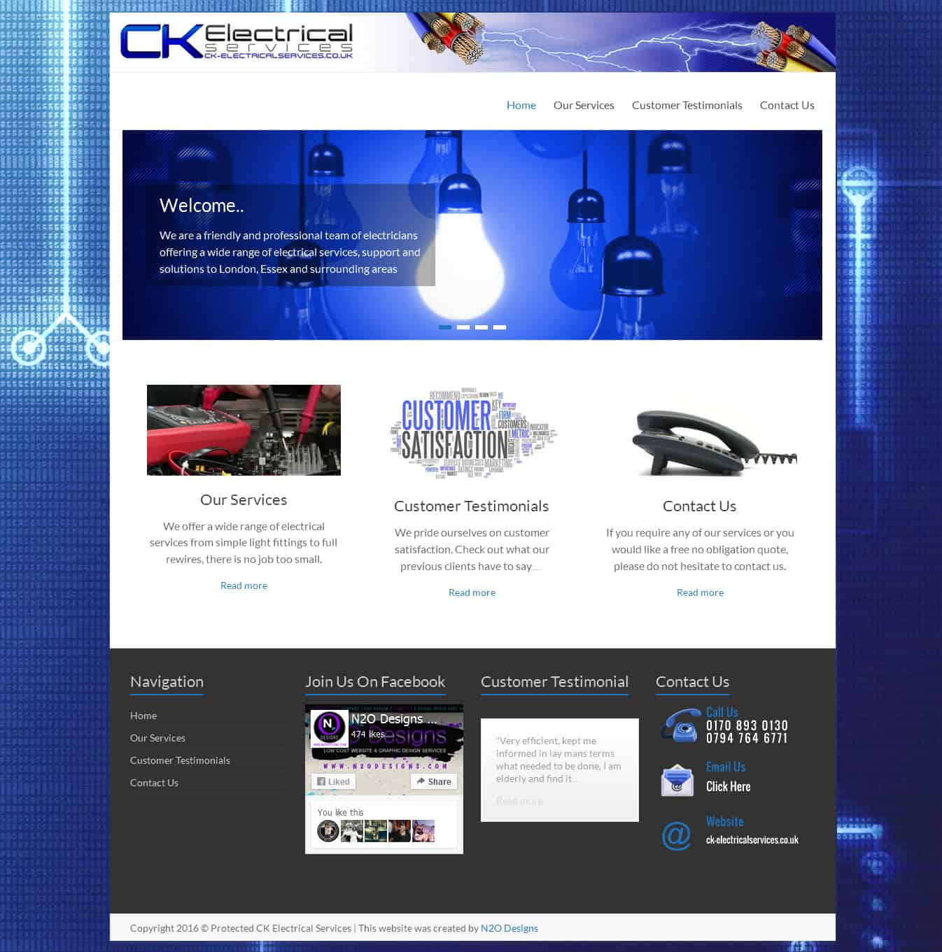 CK Electrical Services Website Preview | N2O Designs